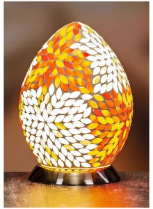 The Grange Collection Coloured Mosaic Egg Lamp (18.5 x 18.5 x 26.5cm)
