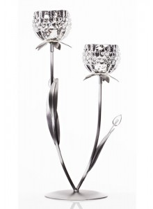 The Grange Collection 2 Glass Flower Candleholder