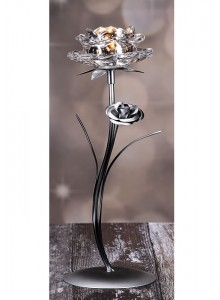 The Grange Collection 1-Glass Flower Candle Holder