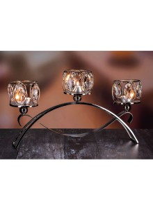 The Grange Collection Crystal 3-Tealight Holder on Stand