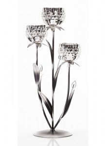The Grange Collection 3 Glass Flower Candleholder