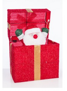 The Grange Christmas Gift Box Santa with Lights, 30cm