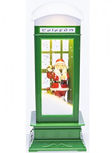 The Grange Christmas Snowing Telephone Box with Music & LED