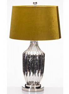 The Grange Collection Glass Table Lamp with Mustard Shade
