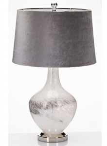 The Grange Collection Glass Table Lamp with Grey Shade