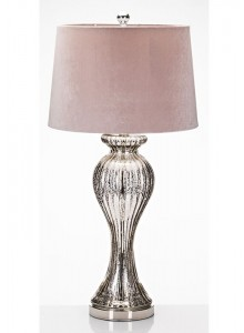 The Grange Collection Glass Table Lamp with Purple Shade