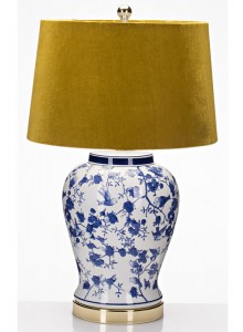 The Grange Collection Blue Bird Ceramic Lamp with Mustard Shade