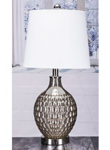 The Grange Collection Glass Table Lamp with Metal Base - 10x12x10