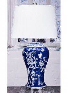 The Grange Collection Ceramic Table Lamp with Blue Base - 14x16x10