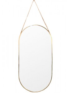 The Grange Interiors Brushed Gold Mirror with Strap 55x85cm