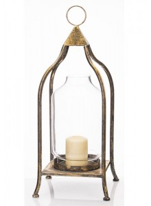 The Grange Collection Metal Lantern with Glass Medium