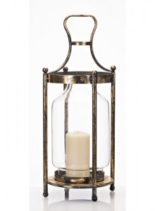 The Grange Collection Metal Round Lantern with Glass Medium