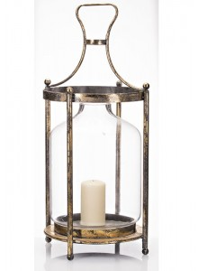 The Grange Collection Metal Round Lantern with Glass Large