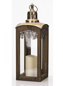 The Grange Collection Wooden Lantern with Metal Top Medium
