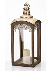 The Grange Collection Wooden Lantern with Metal Top Large