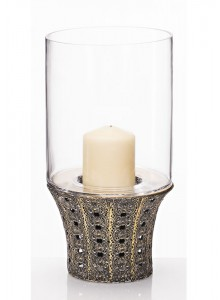 The Grange Collection Metal Glass Candle Holder