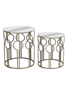 The Grange Collection Silver Mirror Tables, Set 2