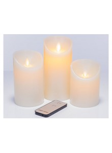 The Grange Collection Set of 3 Ivory Wax LED Candles with remote control