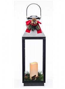 The Grange Collection Christmas Black Lantern with Wreath 19.5x19x59 (batteries included)