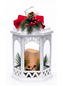 The Grange Collection Christmas White Lantern with Wreath 18x16x31.5 (batteries included)