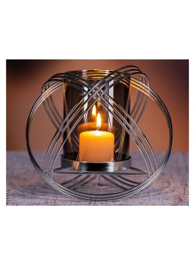 The Grange Collection Metal Candleholder with Smoke Glass