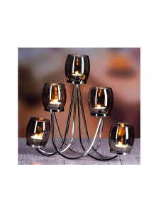 The Grange Collection Metal Candleholder with 5-piece Grey Glass Cups