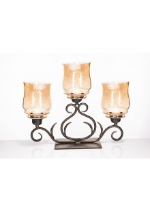 The Grange Collection Julie 3 Hurricane Candle Holder with Gold Lustre 51x13x39cm