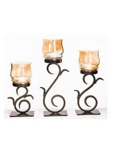 The Grange Collection Julie Set of 3 Hurricane Candle Holder with Gold Lustre 25cm, 30cm & 35cm (H)