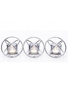 The Grange Collection Metal Candleholder with 3-Pack Glass Cups (Chrome)