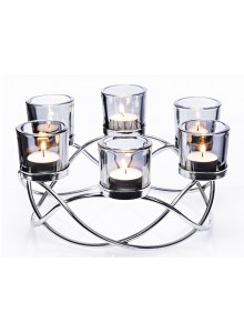 The Grange Collection Metal Candleholder with 6 Glass Cups (Silver)