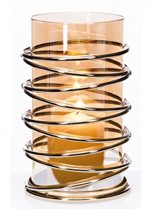 The Grange Collection Metal Candleholder with Gold Glass Tube