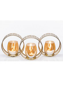 The Grange Collection Metal Candleholder with 3-Pack Glass Cups (Gold)