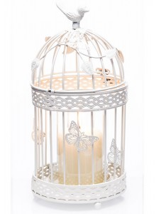 The Grange Collection Metal Birdcage Candleholder with Clear Glass Tube (White)
