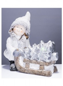 The Grange Christmas Girl with Tree LED Lights, 35cm
