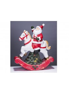 The Grange Christmas Santa on Horse LED Lights, 39cm