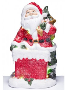 The Grange Christmas Santa on Chimney LED Lights, 40cm