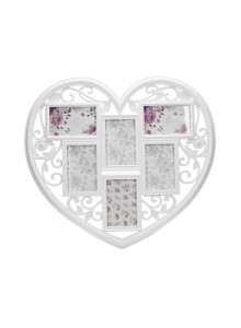 The Grange Collection White Heart 6-Photo Gallery Frame