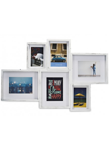 The Grange Collection Brushed White 6-Photo Gallery Frame