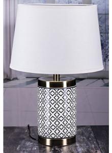 The Grange Collection Black & White Table Lamp - 27x34x24cm