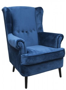 The Grange Collection Velvet Arm Chair (Blue with Black Wooden Legs)