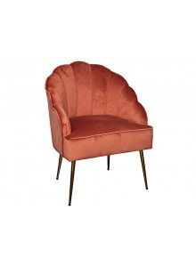 The Grange Collection Shell Arm Chair - Coral with Gold Legs - 63x60x89cm