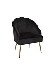The Grange Collection Shell Arm Chair - Black with Gold Legs - 63x60x89cm