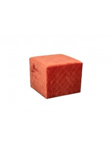 Cubic Stool with Quilted Velvet - Coral - 41x41x41cm
